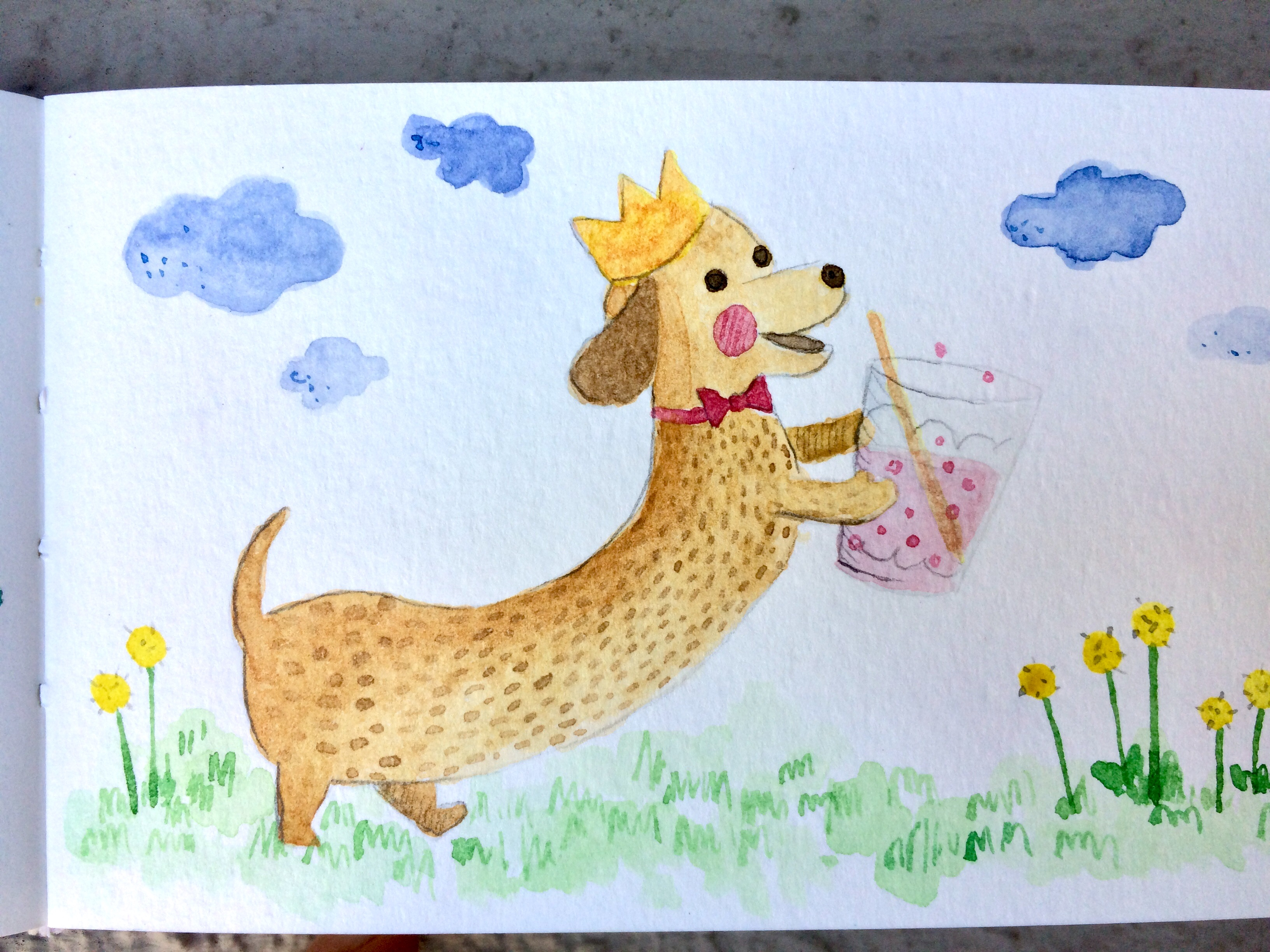 Daily watercolour - Party puppy by Amie Sabadin
