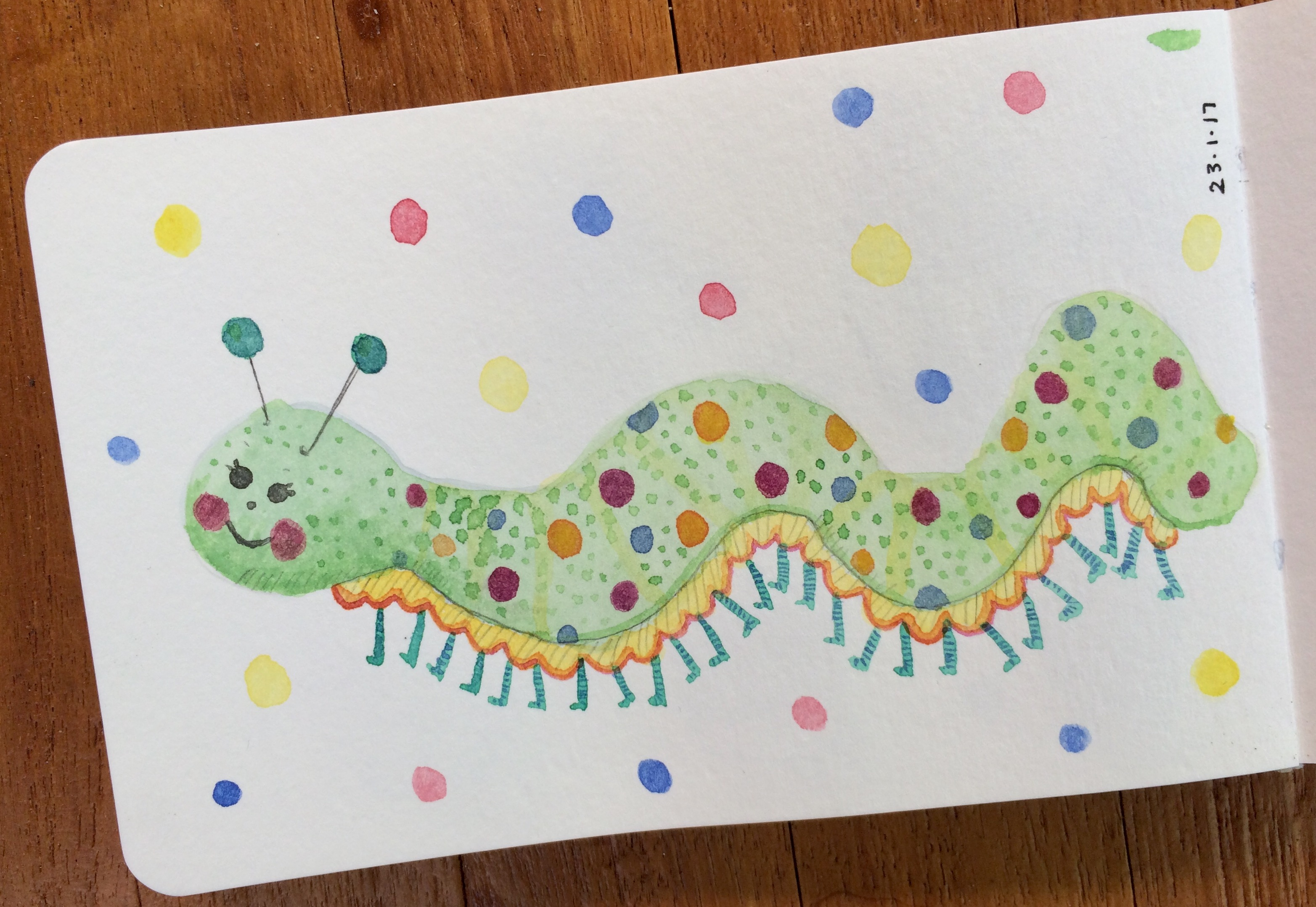 Daily watercolour - Party caterpillar by Amie Sabadin