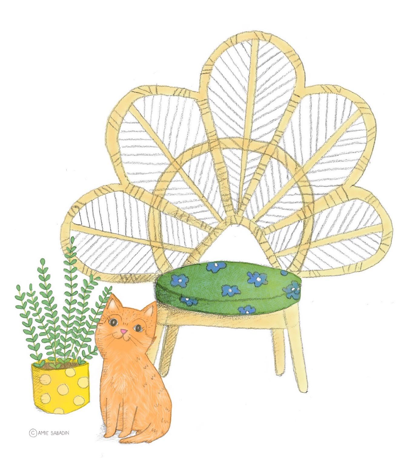 Peacock chair illustration