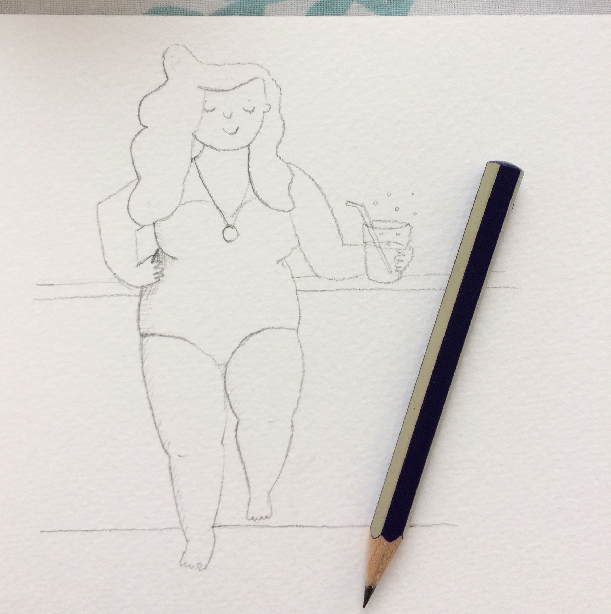 Pool side woman sketch by Amie Sabadin