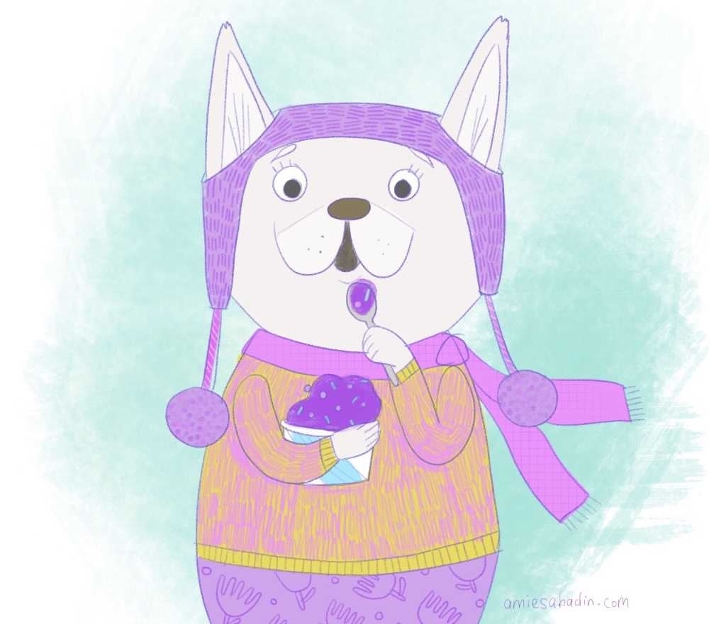 French bulldog eating a purple ice cream