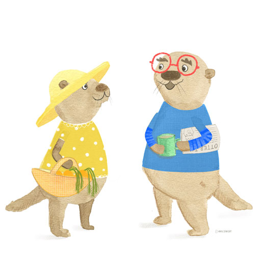 Otter characters by Amie Sabadin