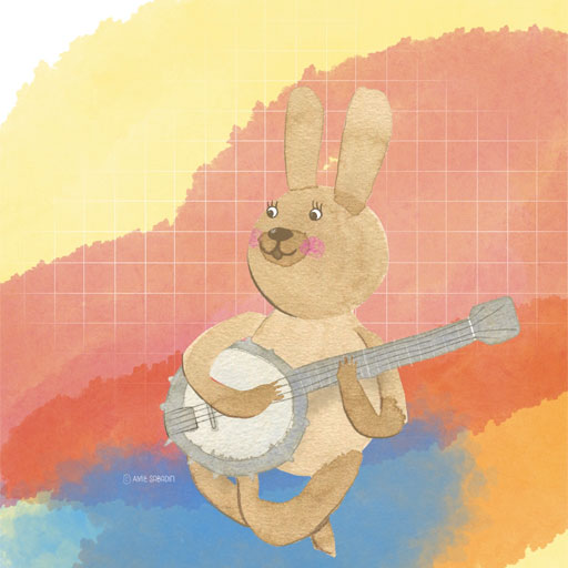 Watercolour rabbit on banjo by Amie Sabadin