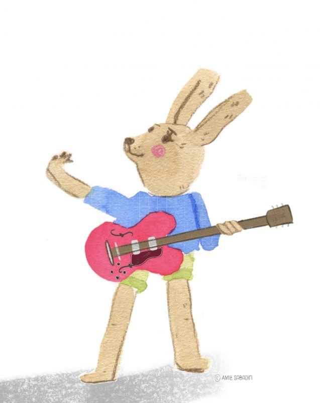 Watercolour guitar rabbit