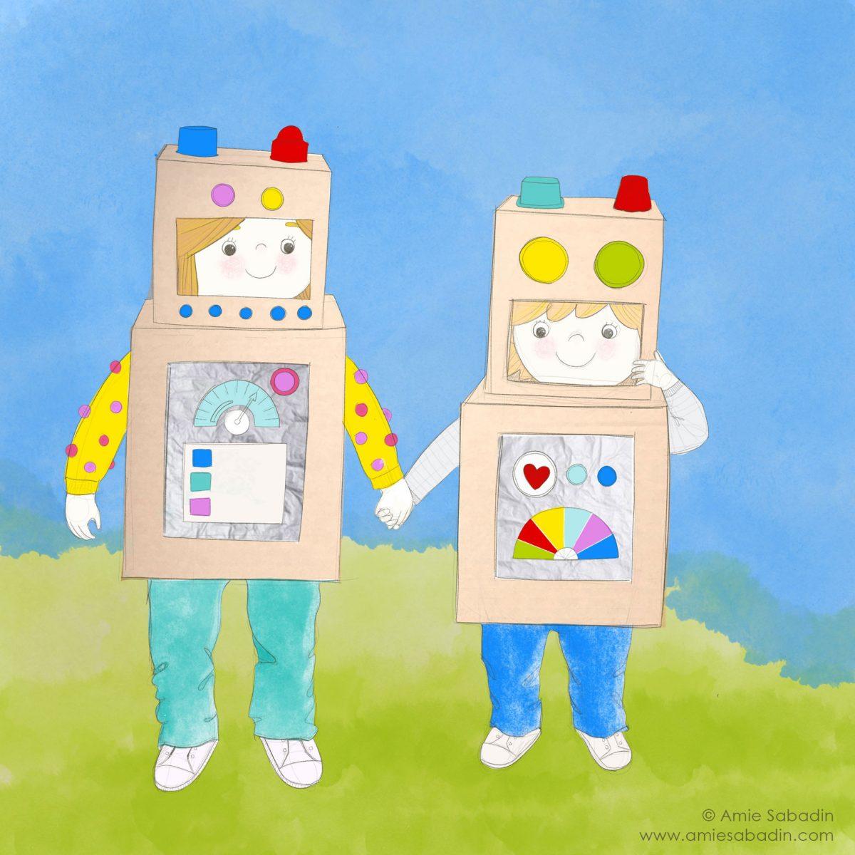 Box Bot Kids illustration by Amie Sabadin