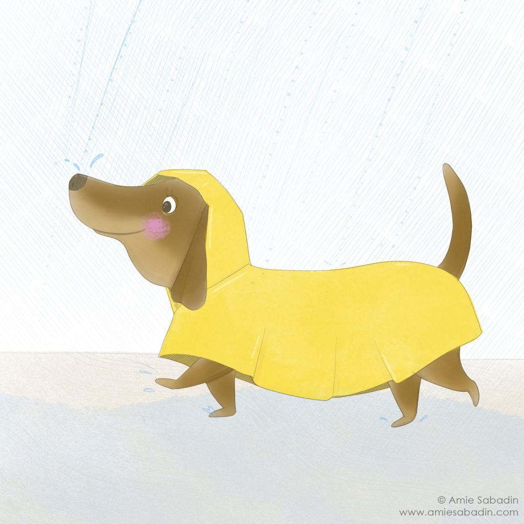 Sally Sausage in the Rain illustration by Amie Sabadin