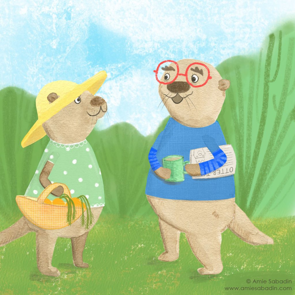 Otter Morning illustration by Amie Sabadin
