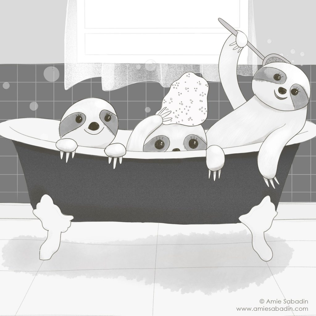 Sloth Bath Time illustration by Amie Sabadin