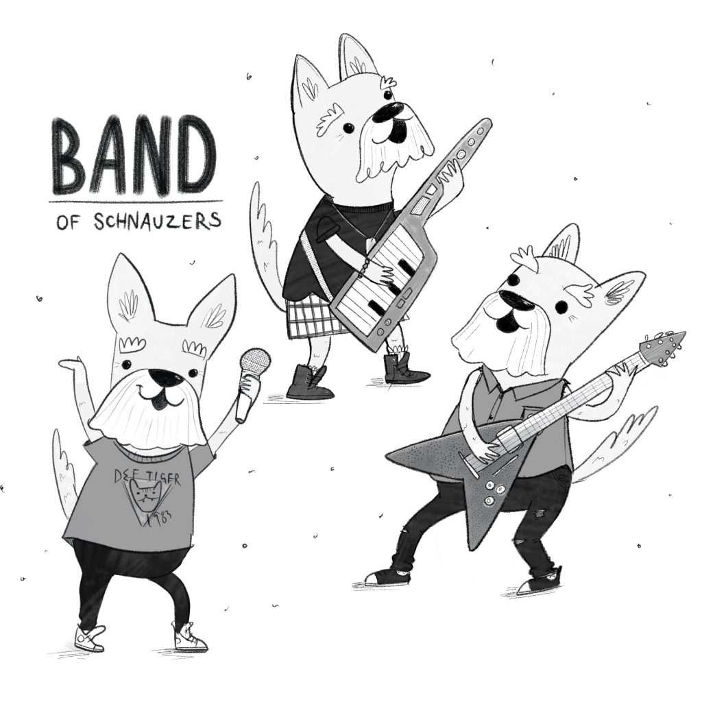 Band of schnauzers illustration by Amie Sabadin