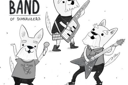 Band of schnauzers illustration by Amie Sabadin