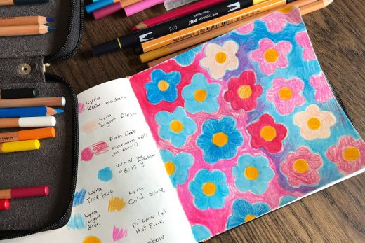 Sketchbook flower pattern by Amie Sabadin