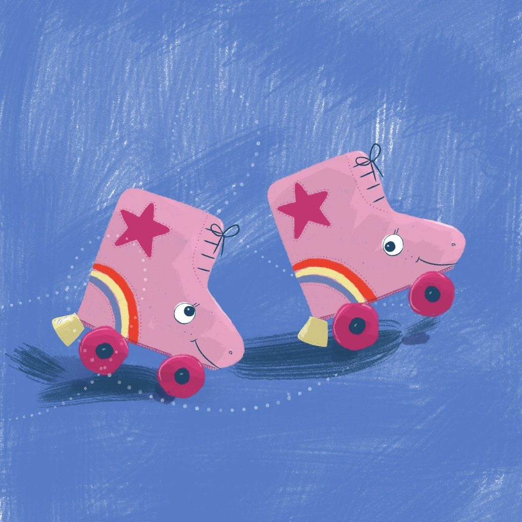 Just keep rollin' roller skates illustration by Amie Sabadin