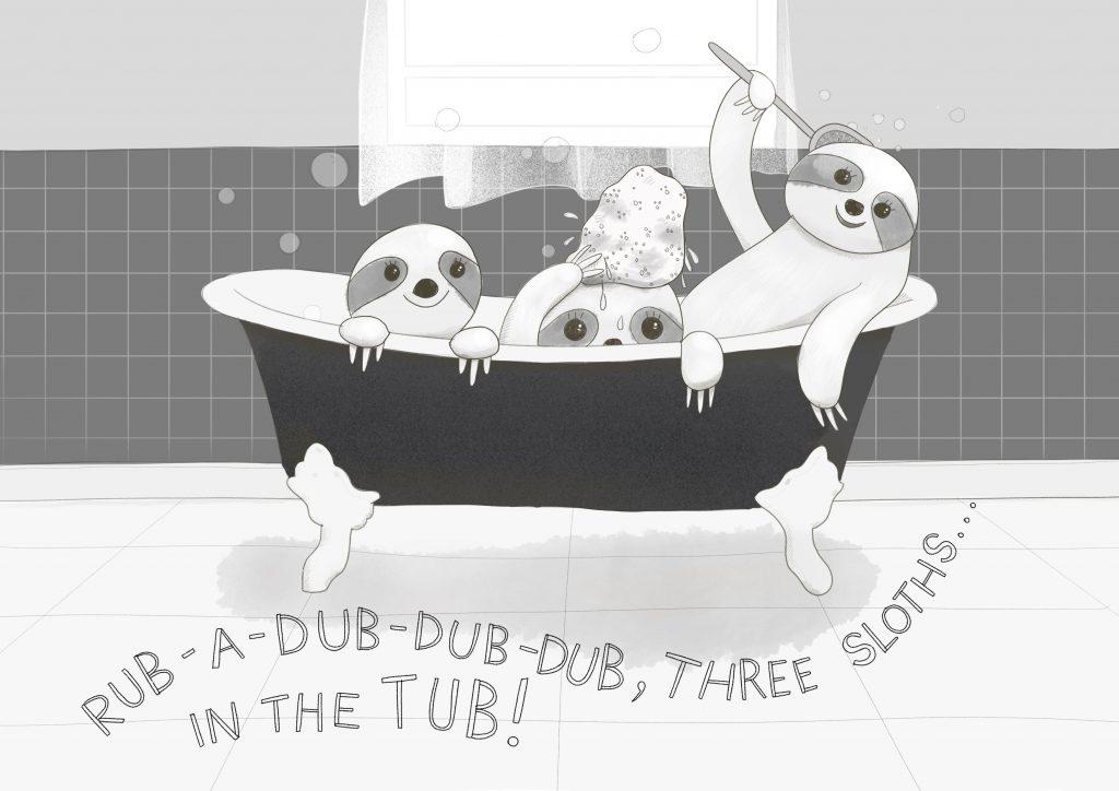 3 sloths in a bathtub