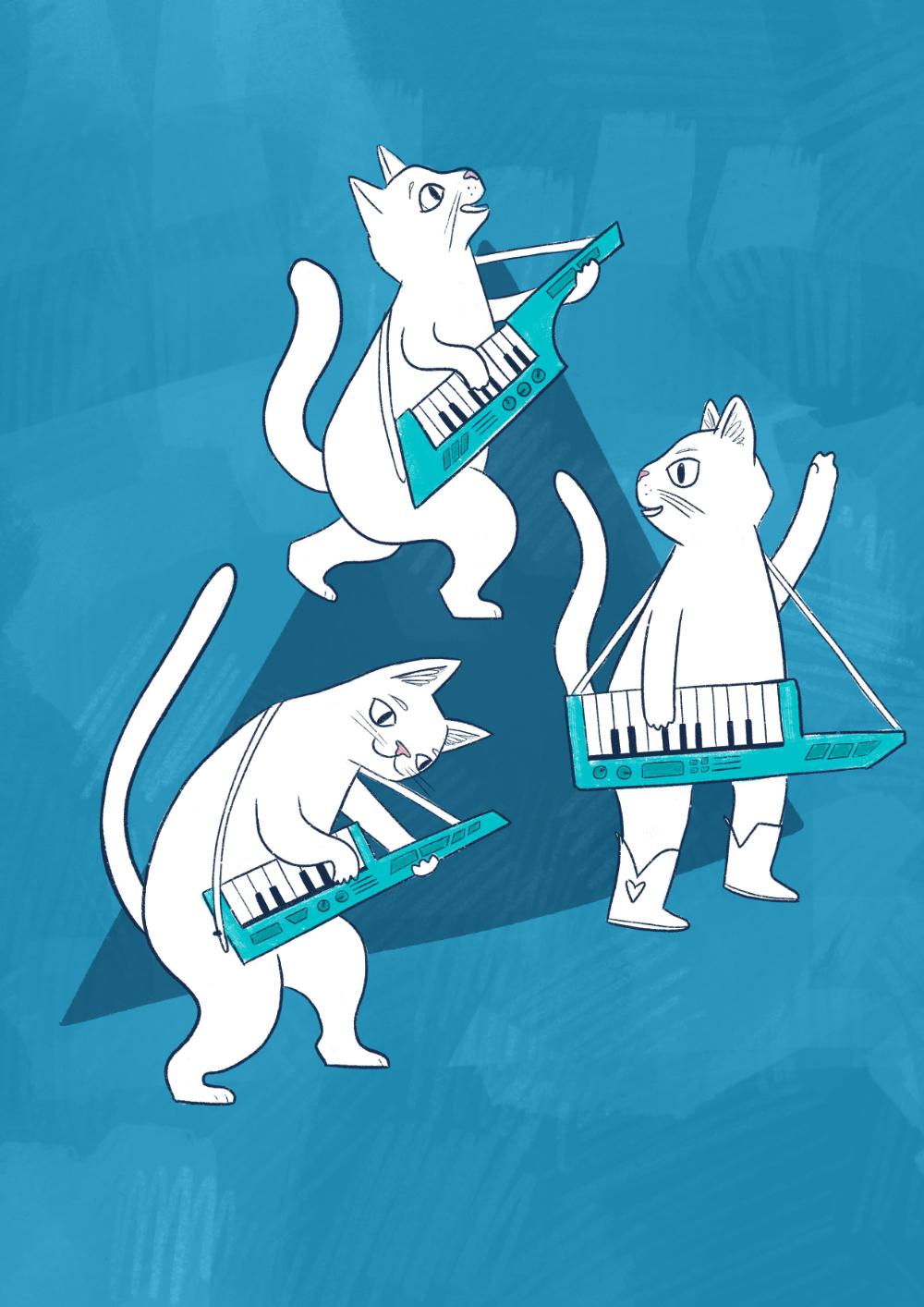 Three cats playing keytars illustration by Amie Sabadin