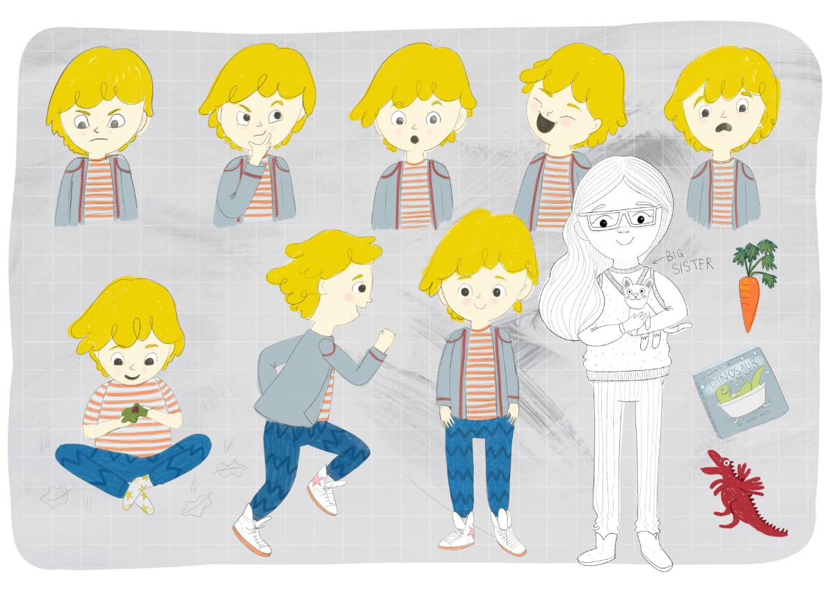 Character design: Jethro Jenkins and his big sister illustration by Amie Sabadin