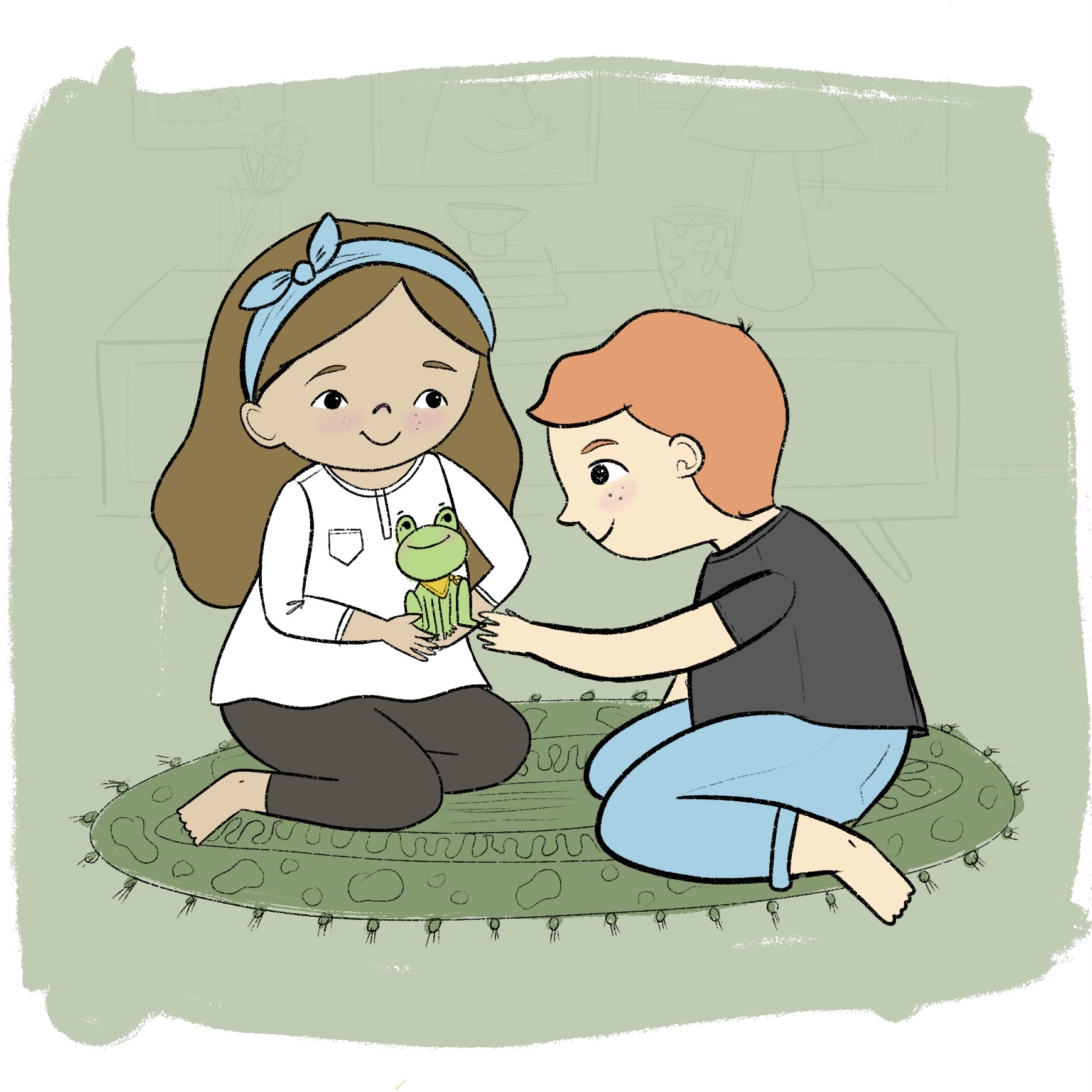 Character kids with froggy illustration by Amie Sabadin