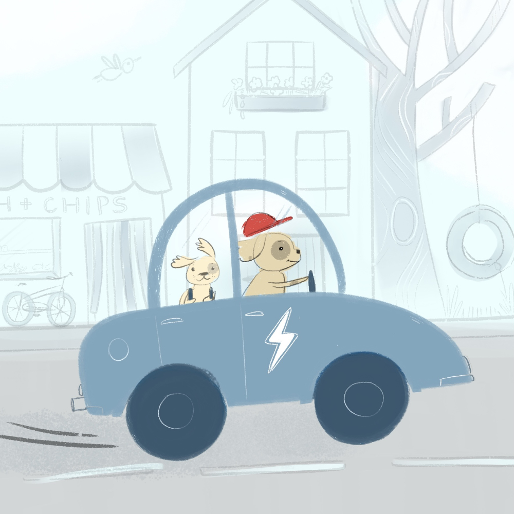 Dogs driving to school illustration by Amie Sabadin