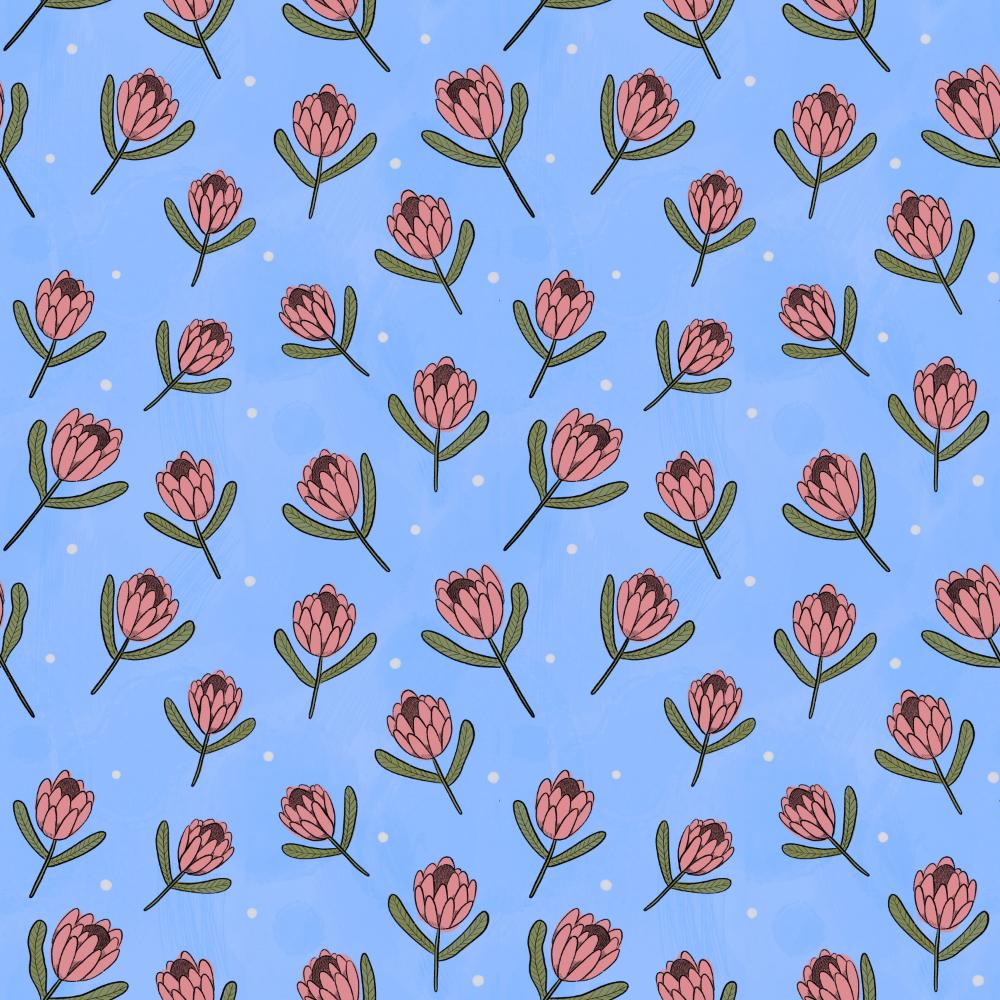 Pattern: Proteas illustration by Amie Sabadin