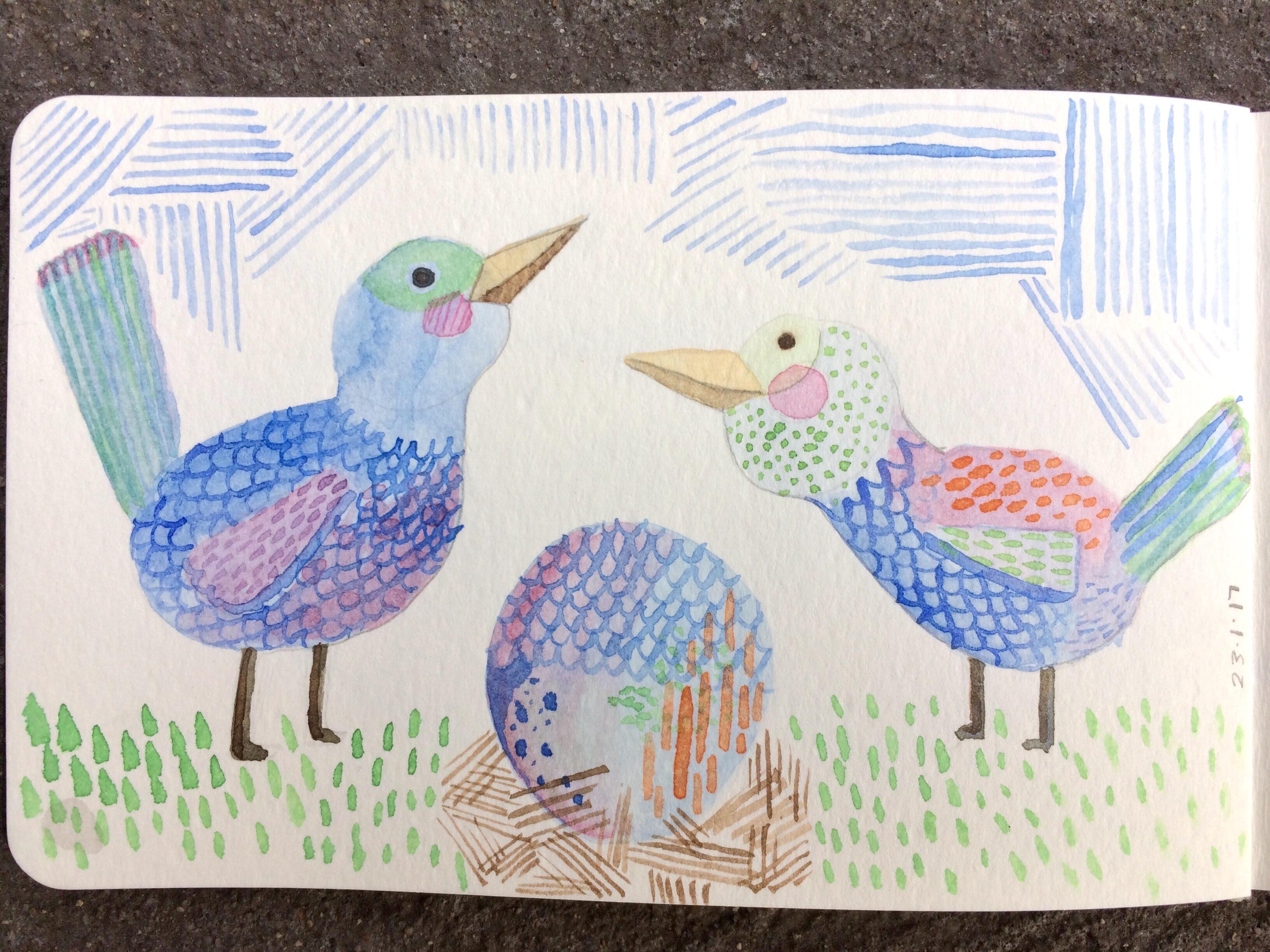 Daily watercolour - Birds by Amie Sabadin