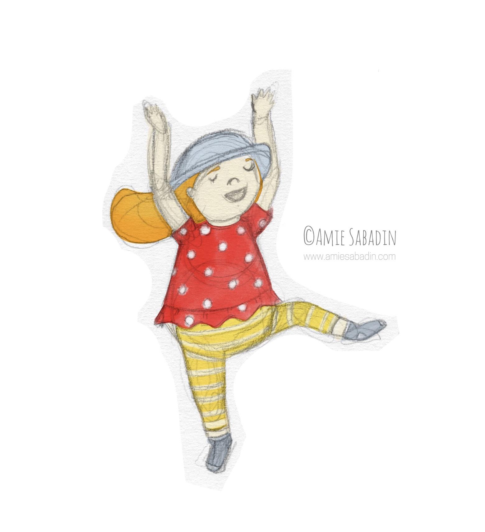 Dancing girl illustration by Amie Sabadin
