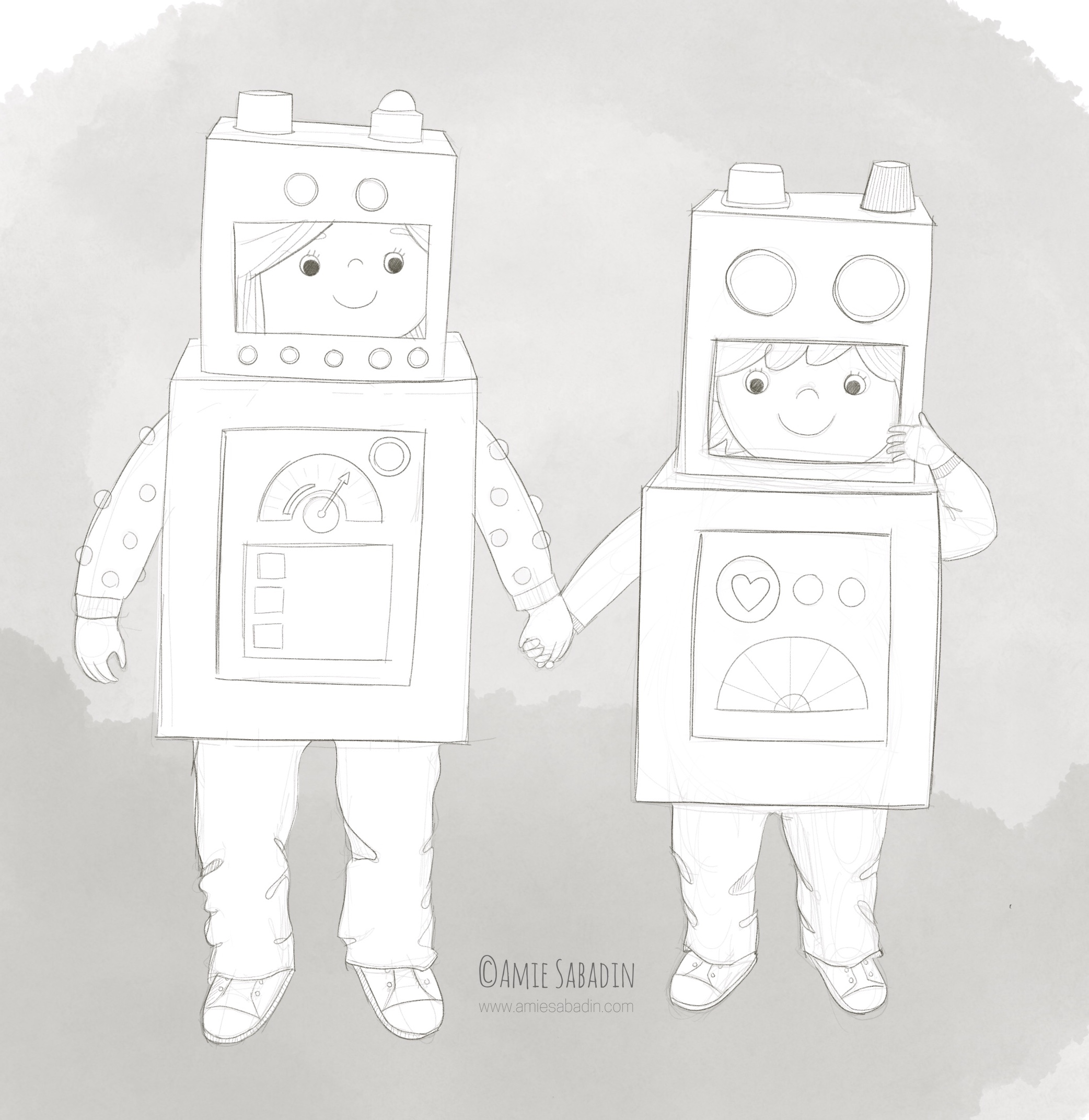 Robot costume illustration by Amie Sabadin