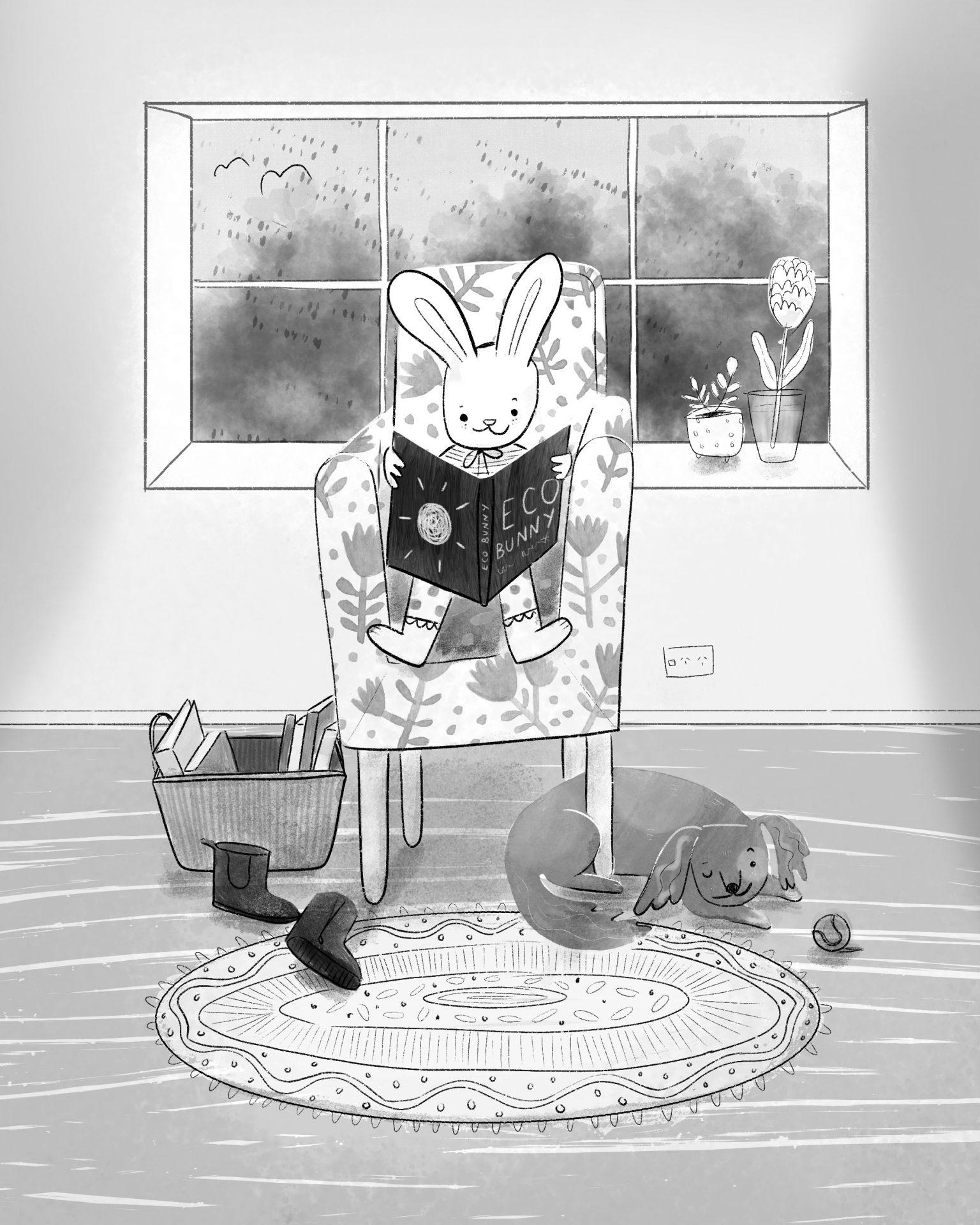 Animals: Eco bunny on a rainy day illustration by Amie Sabadin