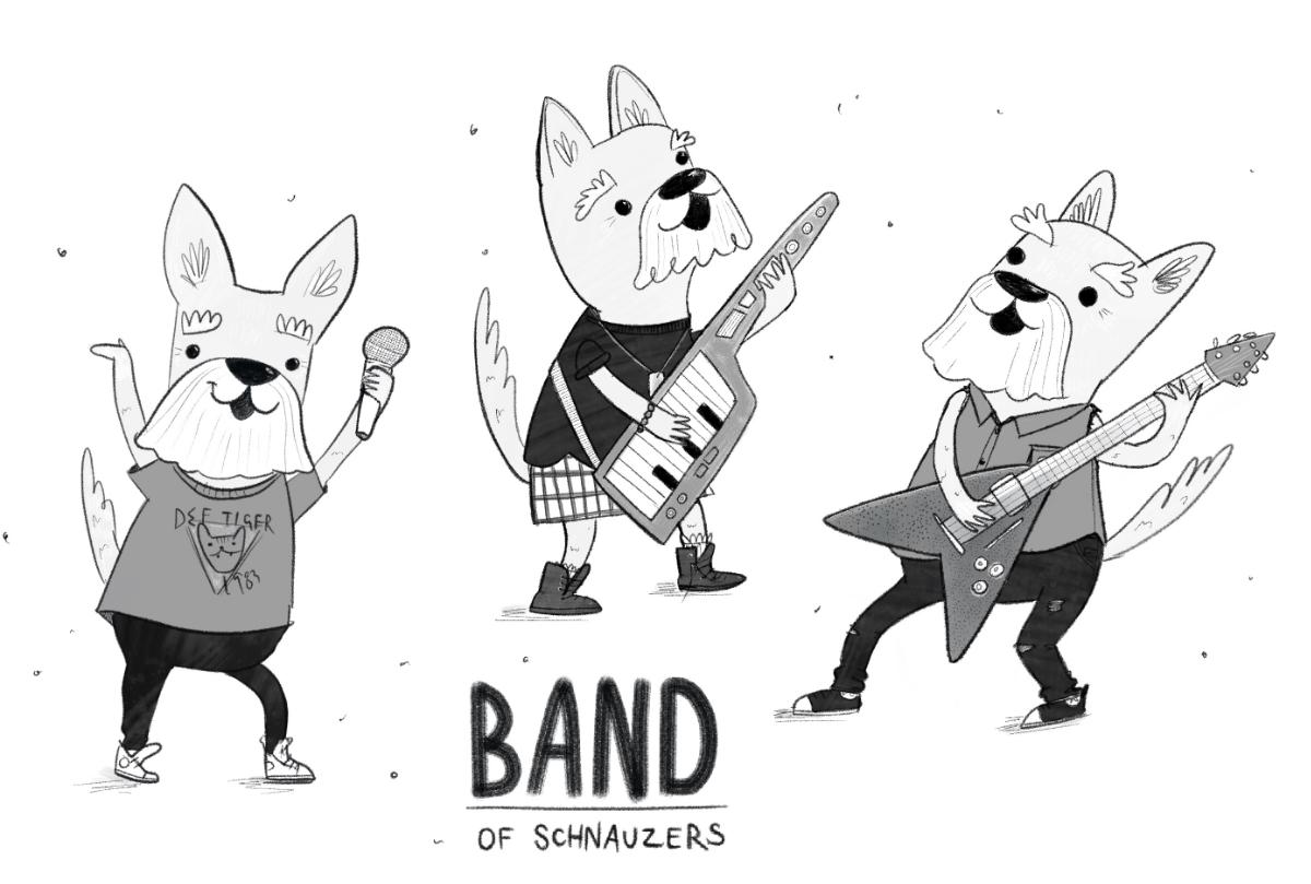 Animals: Schnauzers band illustration by Amie Sabadin