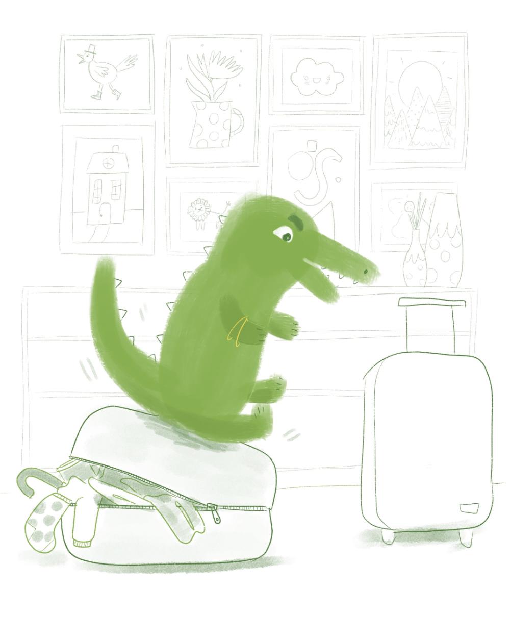 Crocodile packing suitcase illustration by Amie Sabadin